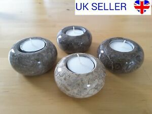Four Occeanic Stone Tea Light Candle Holders Fossil Crystal Votive Natural Stone