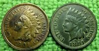 1901-P Indian Head Penny full Liberty and 4 diamonds - Plus 1891