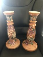 Tall Candle holders Floral Gold Trim Collectible Home Decor