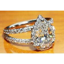 Certified 3.00ct Pear Cut Split Shank Diamond Engagement Ring in 14K White Gold