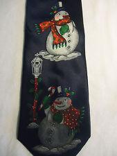 "Holidays NAVY Blue Red Green White Christmas Snowmen Silk Tie 56.5"""