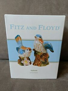 Fitz and Floyd ~ Toulouse Salt & Pepper Shakers Bluebirds NEW in Box