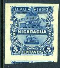 Nicaragua 1890 Seebeck Issues 5¢ Train Imperf O190 ⭐⭐⭐⭐⭐⭐