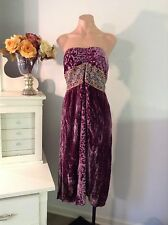 HALE BOB Purple Silk Velvet Embroidered Empire Waist Burnout Dress Sz Medium M