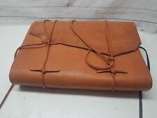 "Huge Leather Bound Blank Journal Notebook Sketchbook Straps 19""x13"" Tan"