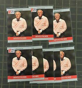 Lot of (7) 1990 Arnold Palmer RC Rookie Golf PGA Pro Tour Set #80 PACK FRESH