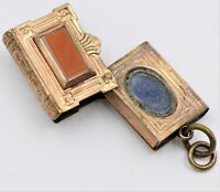 Antique Gold Filled Book Locket Pendant Black Onyx Sardonyx Agate Victorian