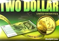 1988 $2 FIRST TWO DOLLAR COIN AND LAST TWO DOLLAR BANKNOTE IN FOLDER