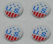 "SET OF 4 U.S. MAGS VINTAGE WHEEL RIM CENTER CAP STICKERS DECALS 1-7/16"" DIA 36MM"