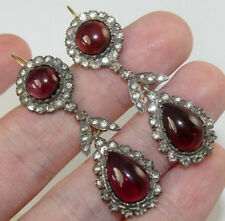 Rose Cut Diamond Ruby Dangle Earrings New 1.58ct Victorian Vintage Style Antique