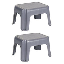 Rubbermaid Durable Roughneck Plastic Family Sturdy Step Stool, Gray (2 Pack)