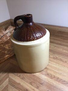 Vintage 1 Gallon Stoneware Whiskey Moonshine Jug fern leaf design top farmhouse