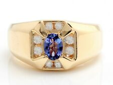 1.44 Carat Natural Blue Tanzanite and Diamonds in 14K Solid Yellow Gold Men Ring