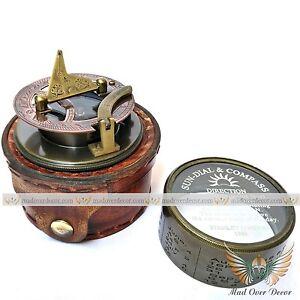 Vintage Brass Handmade Elliott Bro Sundial Direction Compass With Leather Case