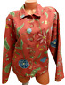 Coldwater creek red floral print button down women's long sleeve jacket 2X