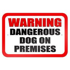 """Warning Dangerous Dog on Premises 9"""" x 6"""" Metal Sign"""