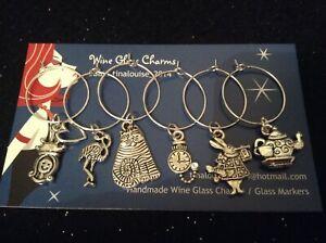 Wine Glass Charms - Set of 6 - Alice in Wonderland (Cheshire, Flamingo, Rabbit)