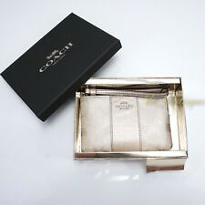NWT Coach F38655 Small Corner Zip Wristlet Wallet PVC Leather Platinum Gold $98