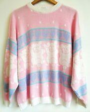 New listing Rare Vtg 80s Dancing Pigs Arielle Pink Pastel Cute Kawaii Fairy Kei Sweater Os