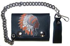 INDIAN CHIEF WITH WAR BONNET TRIFOLD BIKER WALLET W CHAIN mens LEATHER #613 NEW