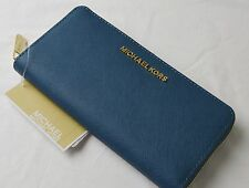 Michael Kors Steel Blue Saffiano Jet Set Zip Around Continental Wallet
