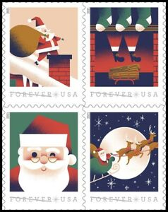 US 5644-5647 5647a A Visit from St Nick forever block (4 stamps) MNH 2021 11/15