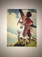 """Vintage Print 4 x 5 """" Boy Plane Dog looking at Sky By T. Row """"Pilot"""""""