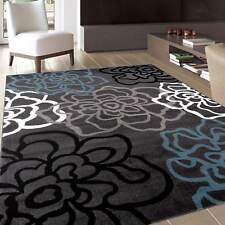 Throw Rug Grey Floral Contemporary Living Room Dining Area Floor Mat Scatter 5x7