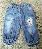 Next Baby Girl 3-6 Months Light Blue Baggy Loose Cropped Cotton Lined Jeans