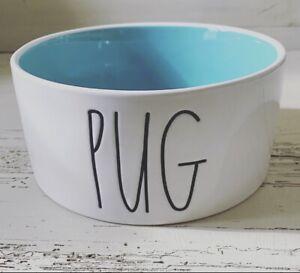 "Rae Dunn 2021 3X6 Dog Bowl ""PUG"" Tiffany Blue Interior  NEW!  HTF! Low Ship!🐶"