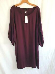 Womens Plus Size Eileen Fisher Ballet Neck Raisin  Silk Tunic Dress 3X
