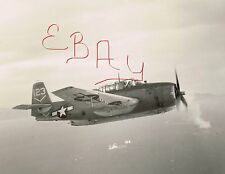 WWII 8X10 PHOTO USS TICONDEROGA CV-14 TBM AVENGER NAMED FLAK HAPPY IN ACTION WOW