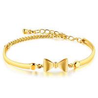7'' New Lovely Bracelet Chain Women Bowknot 18K Yellow Gold Filled Bangle Gift