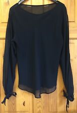 M&S Black Sheer Top Size 12