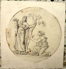 Dessin Ancien vers 1820 Scène Mythologique Personnage à la Corne d'abondance