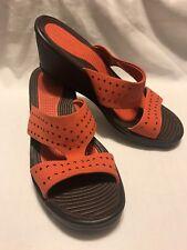 Skechers relaxed fit / Slip On Deep Orange wedge heels ladies shoes sz 10 M