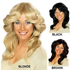 Ladies 1970s 70's 70s Flick Fancy Dress Wig 3 Colours Farrah New by Smiffys