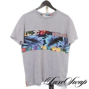#1 MENSWEAR Monitaly Made USA Grey Tropical Patchwork Stripe Pocket Tee Shirt M