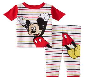 New Disney baby boys Mickey Mouse 24 months snug fit pajamas 2 piece set
