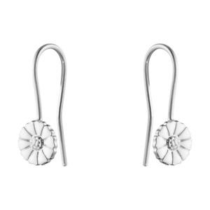 Georg Jensen. DAISY Ear Hooks. Rhodium-plated Silver / white Enamel 7mm.