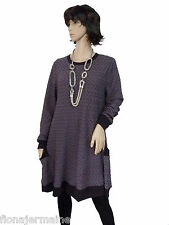 Gr. 38/40/42  Kleid Big-Shirt Tunika Long-Shirt Pflaume LAGENLOOK