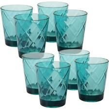 8-Piece Teal Old Fashion Glass Set in Teal 15 oz.