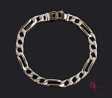Men's Figaro Link Diamond Bracelet 0.35 Carat Handmade 14K Solid Yellow Gold