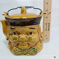 Vintage Ceramic Butter Scotch Toby Cookie Jar/ Teapot