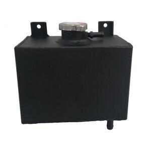 Universal Aluminum Coolant Radiator Overflow Water Tank Bottle With Cap Black