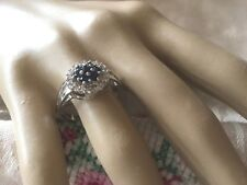 Art Deco Vintage Jewellery Sterling Silver Blue Sapphire Ring Antique Jewelry