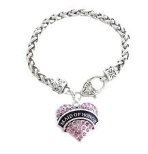 Maid of Honor Pink Crystal Heart Silver Bracelet Jewelry Wedding Bridesmaid Gift