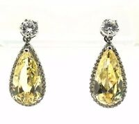 Sterling Silver 925 Pear Yellow Citrine CZ Halo Drop Dangle Post Earrings