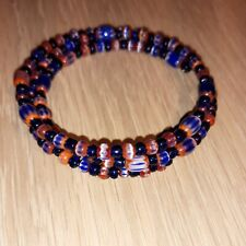 Red White & Blue Glass Seed Bead Memory Wire Bracelet, free postage