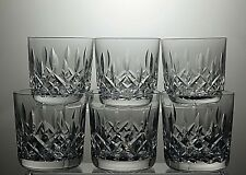 "WATERFORD CRYSTAL ""LISMORE"" CUT 10 OZ WHISKY TUMBLERS SET OF 6 - 3 1/4"" tall"